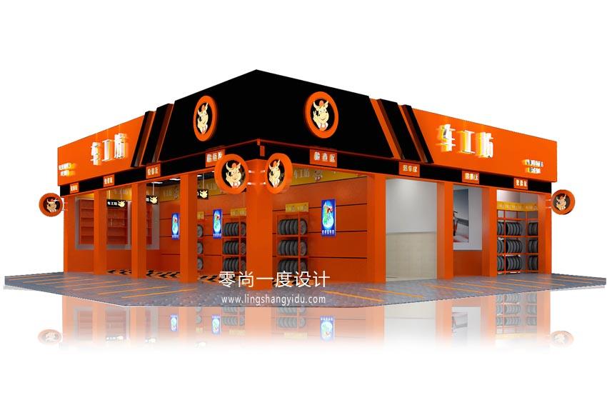 项目简介  汽车修理店设计,天津车工坊汽车维修店设计
